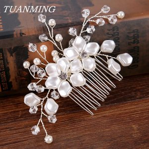 Wholesale hiar accessories resale online - Bride Pearl Hair Combs Wedding Flower Hair Combs Bride Accessories Party Casual Women Hiar Jewelry