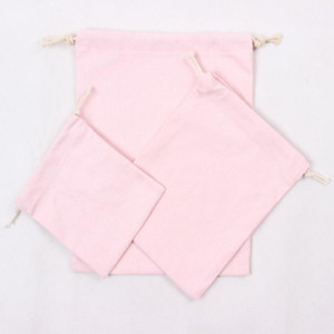 Wholesale cotton canvas laundry bag for sale - Group buy Pink Canvas Drawstring Bags Cotton Storage Bags Laundry Favor Holder Fashion Jewelry Pouches Gift Bags OWD2930