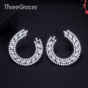 Wholesale moon shaped jewelry for sale - Group buy ThreeGraces Fashion Women Costume Party Jewelry Shinning White Micro Pave Cubic Zirconia Moon Shape Big Stud Earrings ER4561