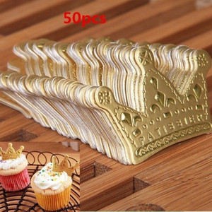 decoraciones de la torta de bodas de oro al por mayor-50 unids lote Princesa de oro Crown Cake Topper Favors Favors Party Cupcake Picks Boda Cumpleaños Decoraciones Accesorios