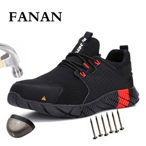 botas de trabajo para hombres al por mayor-Fanan Men Safety Work Shoes Boots Transpirable Light Steel Toe Work Boots Anti Smashing Men s Construction Boots Sneakers