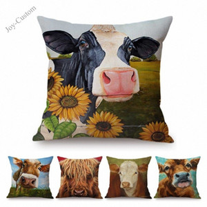 Wholesale cow prints resale online - 2018 Cute Dairy Cow Watercolor Oil Painting Cotton Linen Home Decoration Pillow Case Cotton Linen Sofa Cushion Cover Car Pillow soR5