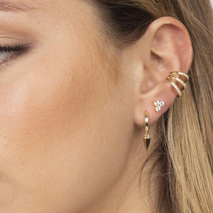 Wholesale clip earrings resale online - factory clip on earring Triple cz line hollow out ear cuff fashion women lady no piercing jewelry