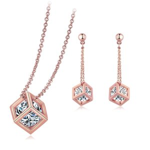 Wholesale gold cubes necklace resale online - Top Quality ZYS058 Crystal Cube Drop Rose Gold Color Jewelry Necklace Earrings Set Made with Austrian Crystals