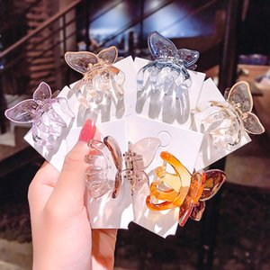 Wholesale plastic barrettes resale online - Diy Styling Tools Plastic Barrettes Mini Claw d Butterfly Shape Jelly Color Transparent Hairpin Vintage Hair Accessories