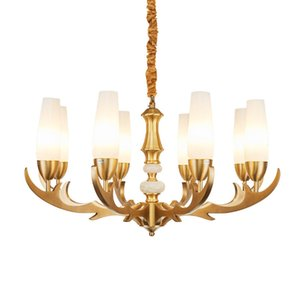 Wholesale antlers light for sale - Group buy American Vintage Chandelier Lighting Luxury Classic Hotel Villa Bedroom Glass Luminaires Creative Antlers Copper Pendant Lamp