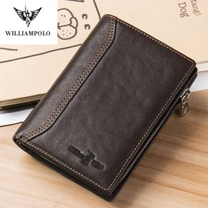 Wholesale vegetable pillows resale online - William Polo Leather Mini Wallet men s double fold ultra thin multi card case slot clip vegetable tanned zipper Q1220