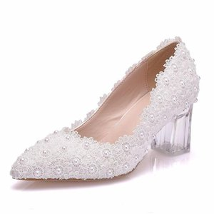 Wholesale beige pumps thick heel lace resale online - Shoes Woman Pumps wedding Party banquet Lace PU Rhinestones Slip On CM Thick High Heels Pointed Toe women shoes size