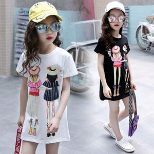 Wholesale cartoon shirts for kids for sale - Group buy Children Clothing T Shirt Girls Summer Toddler Girl Shirts Cute Cotton Clothes for Big Kids Teenage Cartoon Long Tee Coats