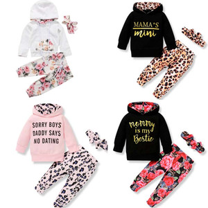 ingrosso fasce unisex-9 Style Baby Bambini Abbigliamento Set Girl Girl Flowers Festa Casual Felpe con cappuccio Bambini Set di felpe con cappuccio manica lunga PANT Fascia