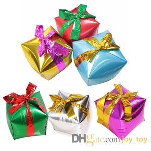 Mix 20pc lot 18 inch Christmas Gift box balloons Box shape Foil Balloon for home shop decoration