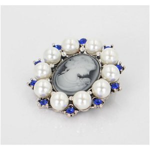 Wholesale cameo resale online - Women Vintage Sparkle Rhinestone Crystal Studded Cameo Victoria Queen Head Brooch Retro Cameo Suit Lapel Pins Jew sqciQF queen66