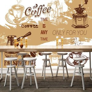 Wholesale wallpaper mural coffee for sale - Group buy Drop Shipping Custom Photo Wallpaper D Stereo Backdrop Retro Cafe Nostalgic Coffee Lobby Wallpaper Living Room Bedroom Mural