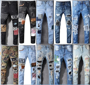 High quality Mens jeans Distressed Elasticity jeans embroidery Slim Ripped hole stripe Famous Denim Men pants jeans big size 28-40