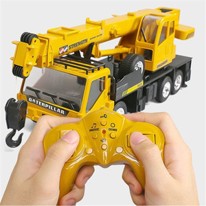 Wholesale control hoist crane for sale - Group buy Rc Hoist Crane Model Engineering Car Toys For Children Birthday Xmas Good Gift Remote Control Freight Elevator