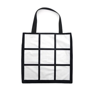 Sublimation Grid handbag Tote Bag Blank White DIY heat transfer shopping bag 9 panels Cloth reusable Storage gift bag handbag FFA4521