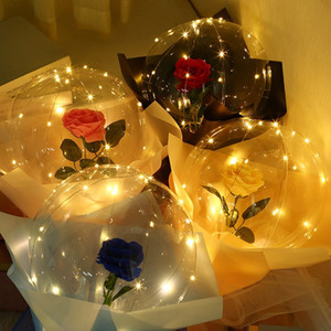Valentines Day LED Balloons Light Luminous Bobo Ball Balloon Flashing Light Rose Bouquet lover Gifts for Birthday Wedding Party E121802