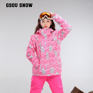 Wholesale ski clothing suit free shipping resale online - waterproof jacket Gsou snow ski suit set womens snowboard jackets mountain ski suit women skiing clothing set1