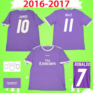 Wholesale james shirts resale online - 2016 RONALDO real madrid soccer jerseys purple Retro BENZEMA football shirt JAMES Vintage Camiseta de fútbol PEPE SERGIO RAMOS