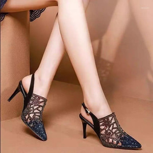 Wholesale cutout heels resale online - Summer Ladies High Heel Sandals Fshion Rhinestone Cutout Sandals Trendy Buckle Sexy Party Women Shoes Pointed Stiletto Heels1