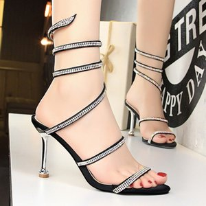 Wholesale nightclub sexy high heel sandal for sale - Group buy Cheap Sexy Nightclub Banquet Women s Shoes European American Stiletto High heel Snake shaped Strap With Rhinestones Ankle Strap Sandals