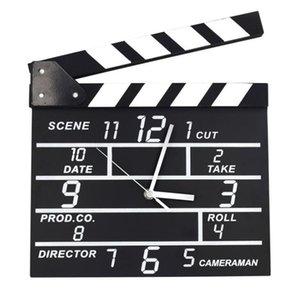 Wholesale wooden clapper resale online - Creative Cinema Movie Clapper Wooden Wall Clock Can Note Modern Home Living Room Hanging Digital Clock Creative Wall Decoration