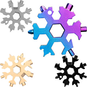 Snowflake Multi Tool 18 in 1 Snowflake Wrench Multitool Bottle Openers Multi Key Ring Bike Fix Tool Christmas Snowflake Gift