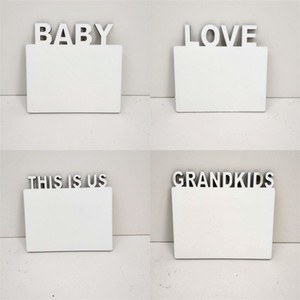 ingrosso immagini incorniciate-Sublimation Blank Picture Cornici in legno Questo è noi Love Lettering Photo Board Photo FAI DA TE White Family Home Album Telaio Soggiorno mm bd