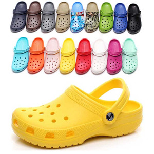 Wholesale rubber clogs resale online - 36 hotsale fashion Slip On Casual Beach Clogs Waterproof Shoes men Classic Nursing Clogs Hospital Women Slippers Work Medical Sandals