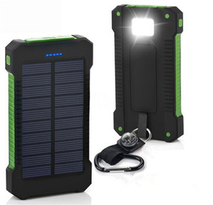 20000mah solar power bank Charger with LED flashlight Camping lamp Double head Battery panel waterproof outdoor charging for Phone