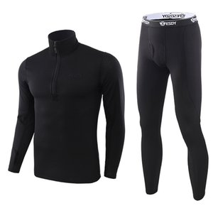 Wholesale sports base layer for sale - Group buy Winter Men Thermal Underwear Set Base Layer Breathable Warm Long Johns Zipper Workout Sport Tracksuit Thick