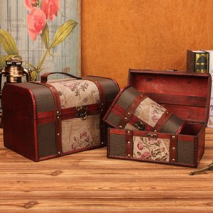 Wholesale jewelry organizations for sale - Group buy Retro Wooden Treasure Box Makeup Organizer Jewelry Box Storage Boxes Bins Creative Multifunction Decor Home Storage Organization Q0120