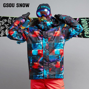 Wholesale gsou snow xl resale online - 2020 Gsou Snow Men Ski Jacket Windproof Waterproof Thermal Clothing Outdoor Sport Wear Skiing Riding Winter Coat Male Snowboard