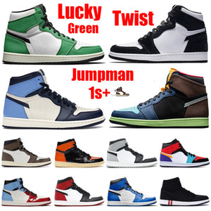 New 1 1s Basketball Shoes Jumpman OG High Twist Lucky Green Bio Hack Reflective White Royal chicago Toe Obsidian UNC Patent Running Sneakers
