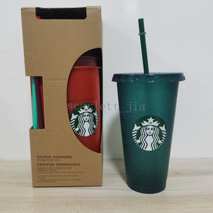Wholesale starbucks tumblers resale online - NEW OZ ml Starbucks Sequins Plastic Tumbler Reusable Clear Drinking Flat Bottom Cup Pillar Shape Lid Straw Mug Bardian