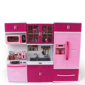 Wholesale toys kitchen resale online - Kids Large Children s Kitchen With Sound And Light Girls Pretend Cooking Toy Play Set Pink Simulation Cupboard Gift Toy Food LJ201009