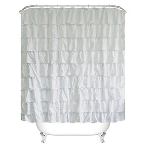 Plain Colour Waterproof Corrugated Edge Shower Curtain Ruffled Bathroom Curtain Decoration X1018