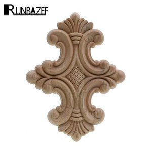 Wholesale furniture wood carving for sale - Group buy RUNBAZEF Natural Floral Wood Carved Decal European Style Woodcarving Furniture Carved Applique Home Decoration Accessories