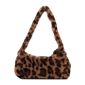 Wholesale plush animal handbags resale online - Animal Pattern Plush Small Underarm Handbags Retro Women Shoulder Top handle Bag Popular Simple Female Daily Bag
