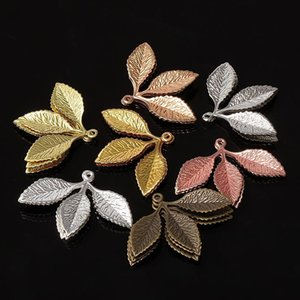 Wholesale lead nickel free jewelry resale online - 20pcs x2m Metal Filigree Leaf Pendants Gold Silver Color Floating Charms Accessoies For Diy Jewelry Making Lead Nickel Free H jllZoV