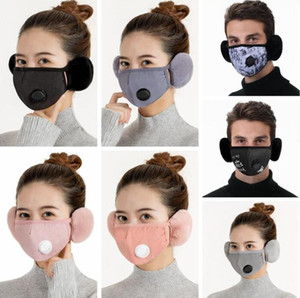 Wholesale ski mask thick resale online - 2 In Valve Masks Earmuffs Warm Mouth Cover With Plush Ear Protective Mask Thick Mouth Muffle Earflap Ski Face Mask Cycling Masks KKB2892