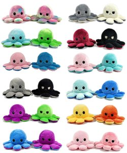 Wholesale football soft toys resale online - DHL Shipping Reversible Flip Octopus Stress Release Plush Dolls Plush Stuffed Toys Soft Animal Party Favor Cute Animal Doll Children Gifts