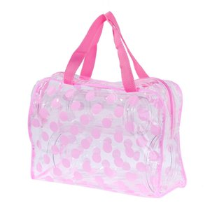 Wholesale transparent clothes storage bag resale online - New transparent PVC waterproof wash bag dot Makeup Bag Travel dustproof clothes storage bag dirty clothes p2
