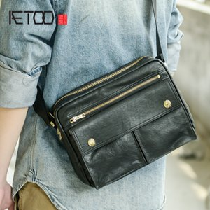 Wholesale men's cross body for sale - Group buy HBP AETOO Hand made leather vintage shoulder bag street casual cross body bag men s real leather bag