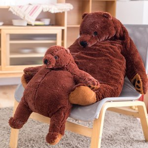 Wholesale giant plush pillows resale online - Big Simulation Brown Bear Plush Toy Stuffed Animal Giant Mr Boss Teddy Bear Plush Doll Pillow Soft Cushion Kids Birthday Gift Q0109