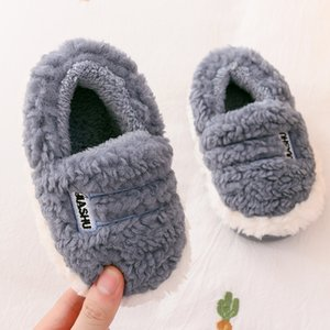 Wholesale warm indoor shoes children resale online - Kids Boys Girls Slippers Soft Home Shoes For Children Winter Toddle Boys Indoor Bedroom Slippers Warm Fur Baby Non Slip Slippers