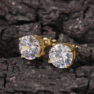 Mens Hip Hop Stud Earrings Jewelry High Quality Fashion Round Gold Silver Simulated Diamond Earrings For Men