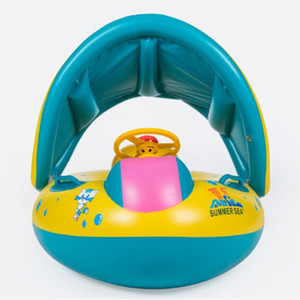 Wholesale inflatable baby swim float boat resale online - Safety Baby Infant Swimming Float Inflatable Adjustable Sunshade Seat Boat Ring Swim Pool1