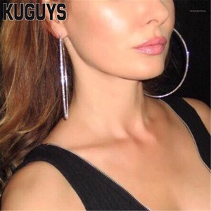 Wholesale jewelry for womens for sale - Group buy KUGUYS Trendy Round Large Earrings for Womens Jewelry Gold Silver Color Crystals Hoop Earring Fashion Brincos1