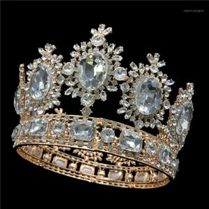 Wholesale quality pageant crowns for sale - Group buy Luxury cm Tall Royal Wedding Bridal Tiara Gold Color Big Rhinestone Queen Pageant Prom Full Crown High Quality MY30451